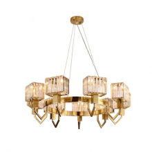 Nordic Iron Art Table Bar Lounge Dining Room Popular Style Golden Modern Indoor Decoration High End Crystal Chandelier