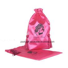 Sac à emporter personnalisé en satin rose avec sac à main et cordon