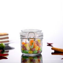Min Size 100ml Round Shape Glass Jars with Airtight Ss Clip and Glass Lids