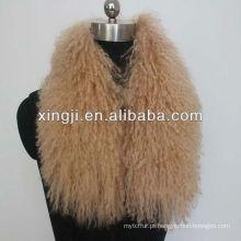 cor tingida colares de pele mongol de qualidade superior para jaqueta
