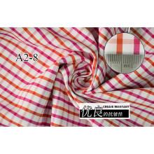 Rojo/naranja comprueba Chequer hilado teñido de tela de camiseta