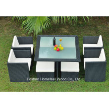 7 Pieces Rattan Outdoor Dining Set with Ottoman