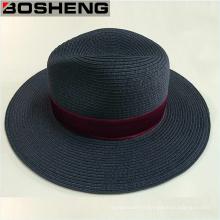 Chapeau de soleil Trilby Fedora Straw Wide Brim Ribbon
