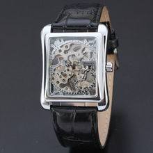 winner personalized rectangle mechanical men watch automatic movement