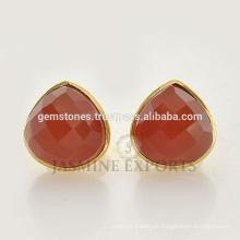Handcrafted Gold Vermeil 925 Sterling Silver Pear Fanta Calcedonia Gemstone Stud Earrings