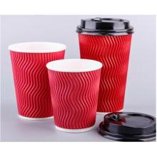 Descartável, quentes, bebendo, personalizado, logotipo, ondulação, parede, papel, café, copo