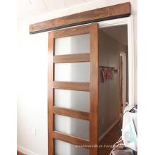 Porta deslizante conveniente, porta de madeira deslizante da inserção de vidro de 5 painéis