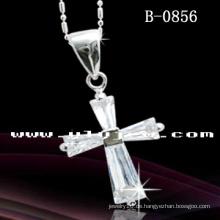Kreuz Anhänger Halskette Rhodium überzogen (B-0856)