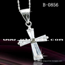 Cross Pendant Necklace Rhodium Plated (B-0856)