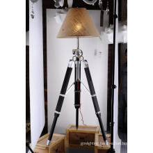 High Quality Wood Aluminum with Fabric Lampshade Tripod Floor Lamp