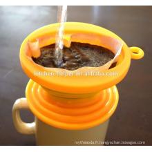 Professionnel Fabricant LFGB Résistant à l'eau résistant à la chaleur Qualité alimentaire Filtre à café en silicone Filtre à café / bouilloire / entonnoir