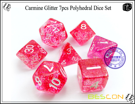 Assorted Colored Glitter 7pcs Polyhedral Dice Set-13