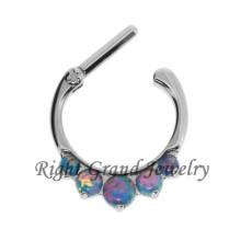 Opal Prong Set Nose Ring Septo Clicker Septo Jóias