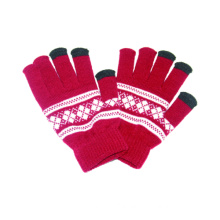 Fashion Printed Acrylic Knitted Touch Screen Winter Magic Gloves
