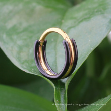 316L Surgical Steel 1.2*8/10/12 mm Black and Gold color Clicker Hinged Ring