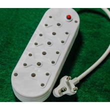 Enchufe de cable de extensión de Sudáfrica dos línea de alimentación de fila de arrastre de fila de fila de tres núcleos blanco