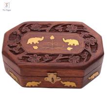 Caixa de jóias de madeira artesanal de armazenamento de jóias com design tradicional