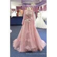 Vestidos de noite vestido de festa de formatura nupcial rosa manga longa