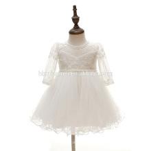 Derniers enfants indiens en mousseline de soie Puffy perles genou-longueur robes pour 0-2 ans Girl Dress Designs pour les jeunes filles