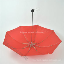 Red Canopy 4 Fold or Folding Umbrella with Logo (YS4F0006)