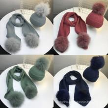 Inverno quente cachecol chapéu de malha de lã e cashmere faux fur pom poms mulheres chapéu e lenço conjunto