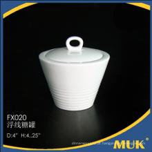 Por atacado da porcelana guangzhou osso porcelana pote de açúcar de cerâmica