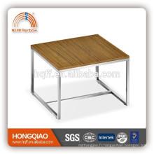 ET-20 placage moderne table basse en acier inoxydable fin de table en bois