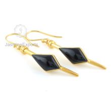 18k Goldohrringe, Großhandelslieferant für schwarze Onyx Edelstein-Ohrringe für Frauen
