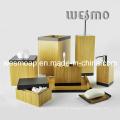 Accesorio de baño de bambú carbonizado con borde negro (WBB0617A)
