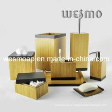 Acessório de banheiro de bambu carbonizado com borda preta (WBB0617A)