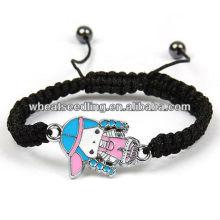 Bonito personalizado 2014 grande tamanho bead shamballa pulseiras