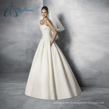 Sleeveless Lace Appliques Court Train New Design Beautiful Wedding Dresses
