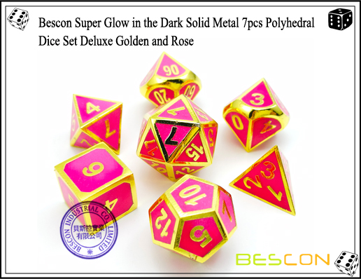 Bescon Super Glow in the Dark Solid Metal 7pcs Polyhedral Dice Set Deluxe Golden and Rose-1