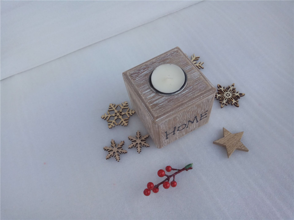 natural wooden candle holder