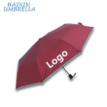 Prix direct d'usine nouveau conçu par coutume de sécurité imprimant le logo automatique compact de poignée de parapluie avec la bande réfléchissante