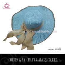 Chapeaux faits sur commande bleus de plage de soleil avec le ruban