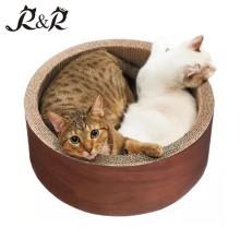 Calidad garantizada Pet Toys Cat Scratcher casa en forma de gato redondo RCS-8016
