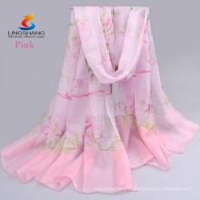 Lingshang CDX008 venda por atacado nova moda design estilo vestido de menina de seda sentir impressão digital lenço de chiffon