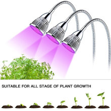 Planta LED Grow Light Three-Head 15W Clip Desk espectro completo Grow lámpara con cuello de ganso flexible de 360 ​​grados