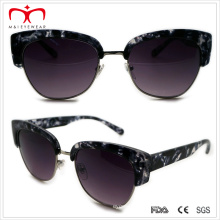Half Rim Plastic Ladies Sunglasses with Metal Decoration (WSP508304)