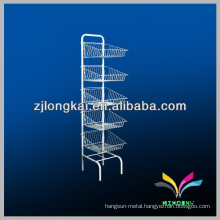 Floor stand white wire stable metal display racks for pharmacy