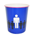 Plástico creativo azul abierto superior basura bin para el hogar / oficina / dormitorio (B06-871)