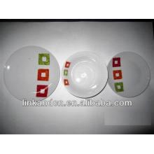 Haonai 12pcs blanco diseño personalizado placa de cena establece