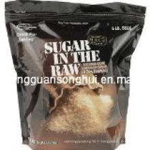 Sac en plastique d'emballage de sucrerie / sac de sucre brun / sac de sucre cru / sac de sucre de canne naturel