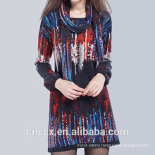 15STC6601 digital print sweater dress