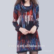 Vestido de camisola de impressão digital 15STC6601