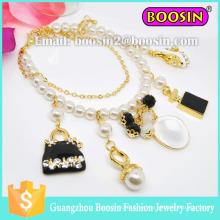 Moda mujer Infinity personalizado Shamballa Metal Gold Bead Charm Bracelet