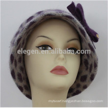 Lady new design China factory Leopard Printed Wool mixed with Acrylic hats with cap