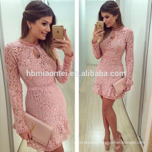 2017 Aliexpress hot sell round collar long sleeve pink color laced sexy mature women dress