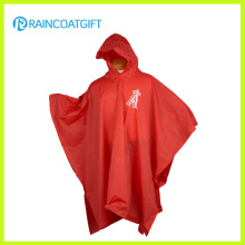 Custom Brand Logo Printed Red PVC Poncho for Promotion